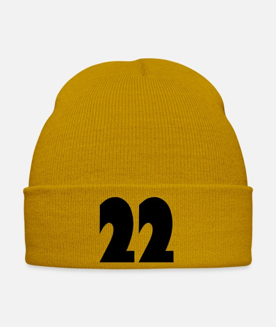 22 Caps & Hats - ❤️★Number Twenty-Two Best Jersy Number & Best Age★ - Winter Hat mustard yellow