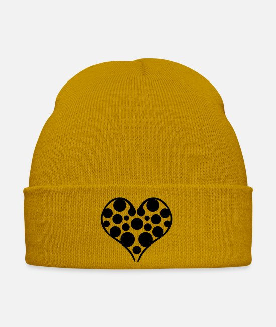 Heart Caps & Hats - heart valentines day - Winter Hat mustard yellow
