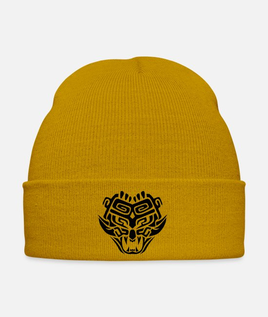 Masque Casquettes et bonnets - masque azteque monstre totem 1 - Bonnet jaune moutarde
