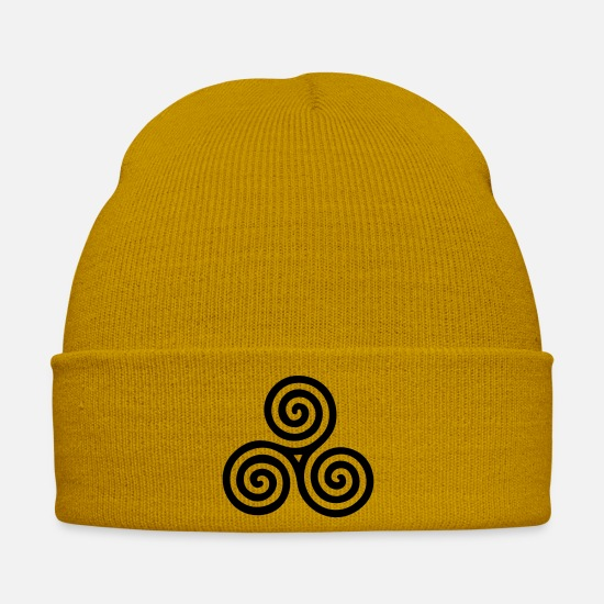 Symbol  Caps & Hats - celtic triple spiral - right - Winter Hat mustard yellow