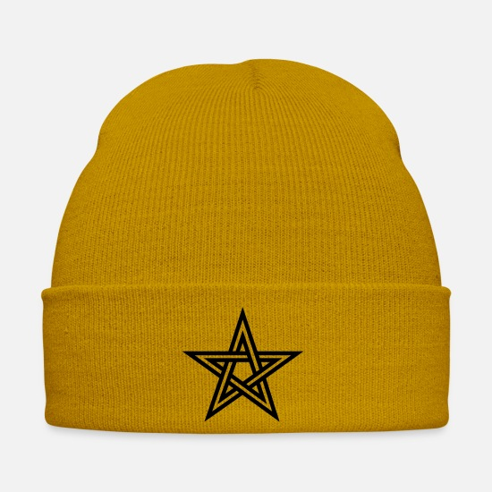 Magic Caps & Hats - Pentagram, Glow in the dark, five star, magic, - Winter Hat mustard yellow
