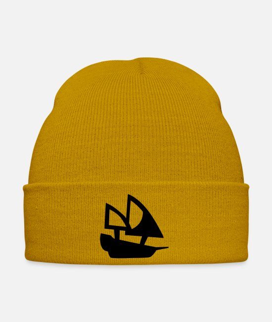 Anchor Caps & Hats - small black ship - Winter Hat mustard yellow