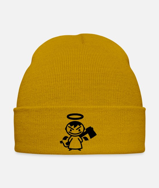 Grin Caps & Hats - evil angel with ax - line - Winter Hat mustard yellow