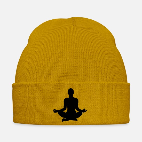 Bless You Caps & Hats - Yoga pose silhouette - Winter Hat mustard yellow