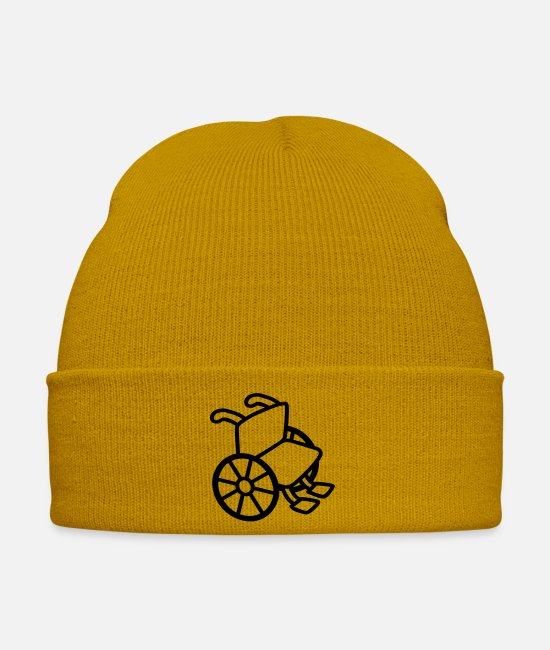 Handicap Caps & Hats - wheelchair - Winter Hat mustard yellow