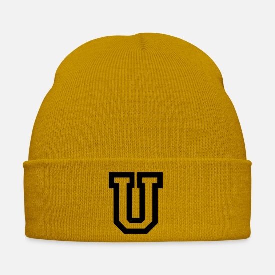 College Caps & Hats - Letter U - Winter Hat mustard yellow
