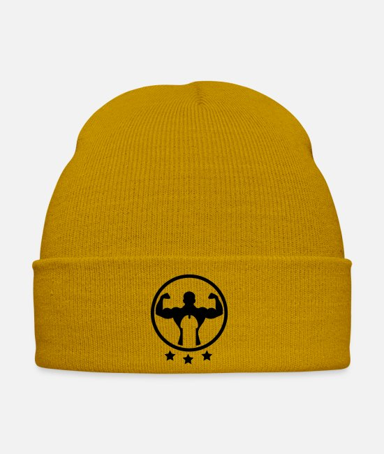 Training Caps & Hats - bodybuilding_dick_logo_3__f1 - Winter Hat mustard yellow