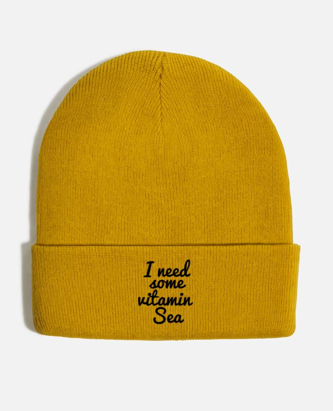 Statement Caps & Hats - I need some vitamin sea - Winter Hat mustard yellow