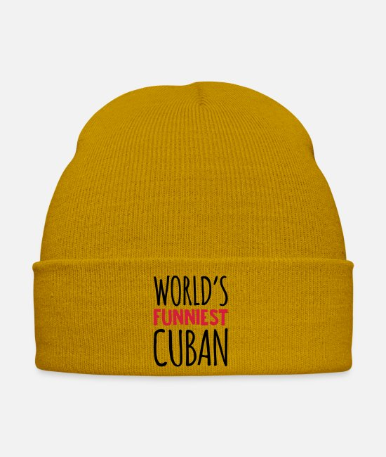 Kubansk Caps & Hats - worlds funniest cuban - Winter Hat mustard yellow