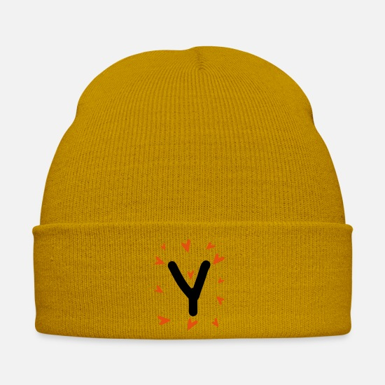 Typography Caps & Hats - Hand drawn letter Y typo - Winter Hat mustard yellow