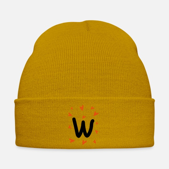 Typography Caps & Hats - Hand drawn letter W typo - Winter Hat mustard yellow