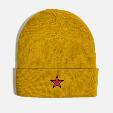 Sharp sharp red star with sharp black outline - Winter Hat