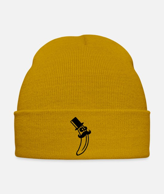 Beard Caps & Hats - Sir Mustache Banana With Top Hat - Winter Hat mustard yellow