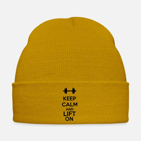 Weightlifting Caps & Hats - Keep Calm And Lift On - Winter Hat mustard yellow