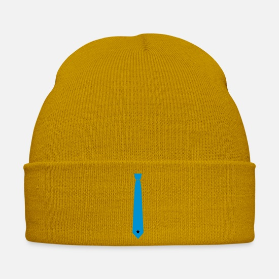 Office Caps & Hats - Tie with Star - Winter Hat mustard yellow
