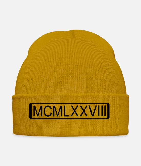 Recurrence Caps & Hats - rome_number_1978_2 - Winter Hat mustard yellow