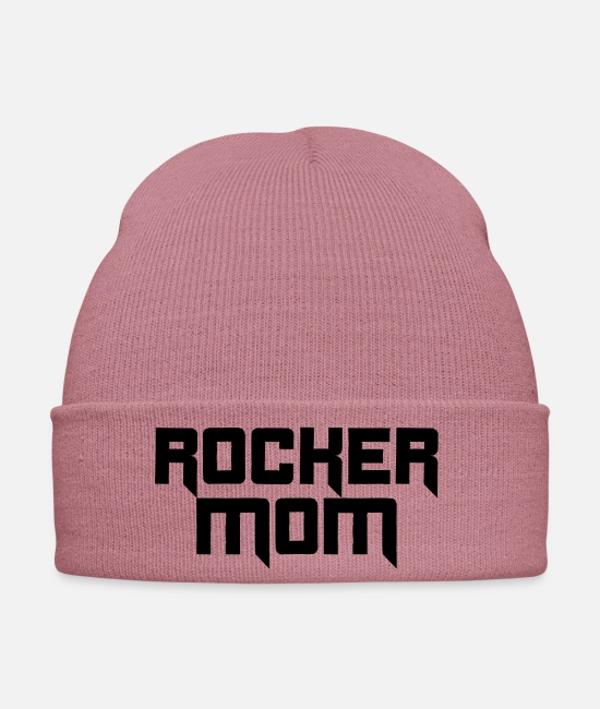 Heavy Caps & Hats - Rocker mom rocking hard rock rocker mom mom - Winter Hat dusky pink
