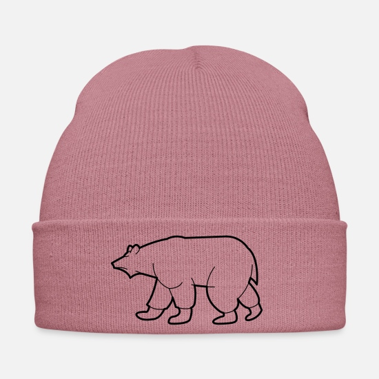Gift Idea Caps & Hats - Drawing of a polar bear - Winter Hat dusky pink