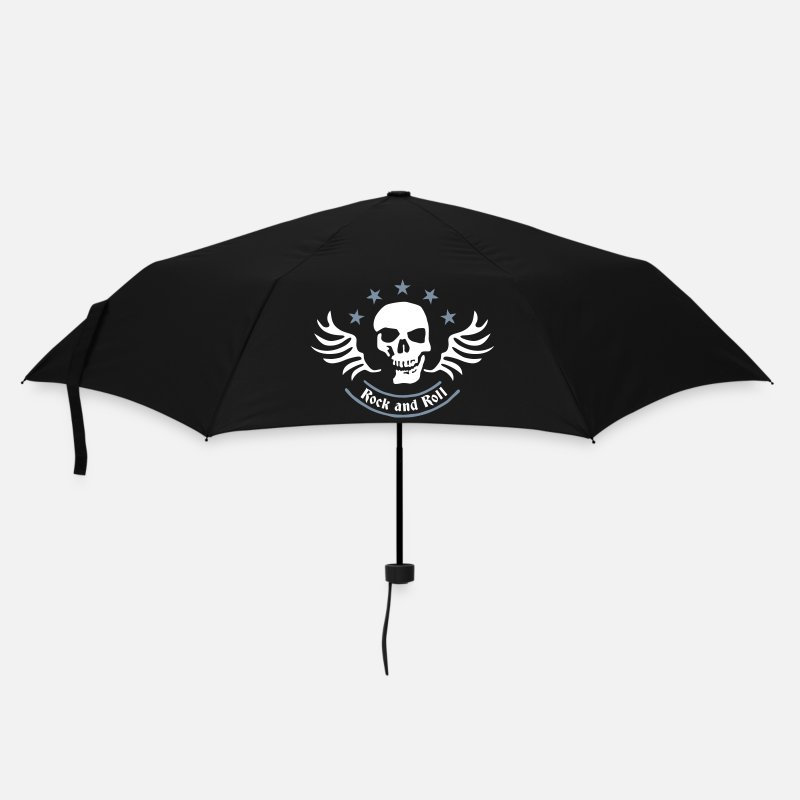 Grim Reaper Umbrellas - rock_and_roll_skull_2c - Umbrella black