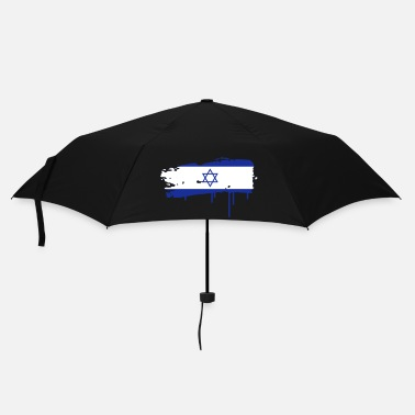 Horizontal Israeli flag painted with a brush stroke - Umbrella