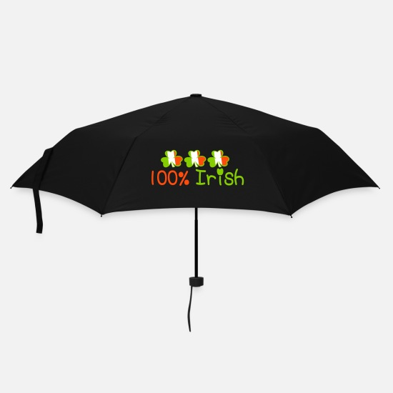 Language Umbrellas - ♥ټ☘Kiss Me I'm 100% Irish-Irish Rule☘ټ♥ - Umbrella black