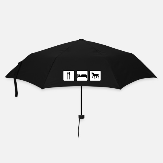 Cowboy Umbrellas - Eat Sleep Ride, Eat Sleep Horse - Umbrella black