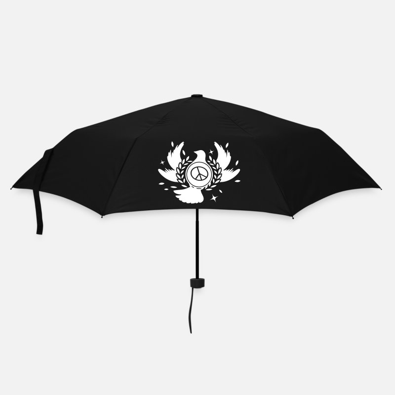 Happiness Umbrellas - A peace dove with laurel wreath and peace sign  - Umbrella black