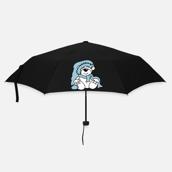 Bear Umbrellas - Cute little polar bear with a hat - Umbrella black