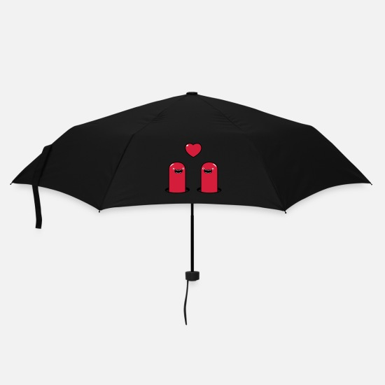 Girl Umbrellas - Cute Monsters in Love - Umbrella black