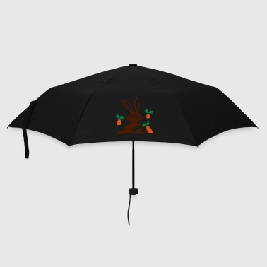 A rabbit with sunglasses in a carrot field - Umbrella (small)