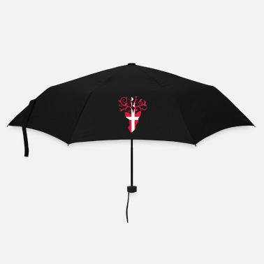 Antler Deer head and antlers with Swiss flag - Umbrella (small)