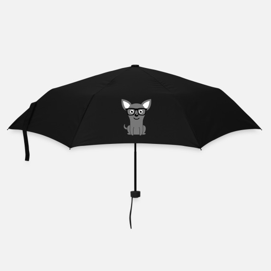Dogs Umbrellas - Cute & Funny Hipster Dog / Puppy with Nerd Glasses - Umbrella black