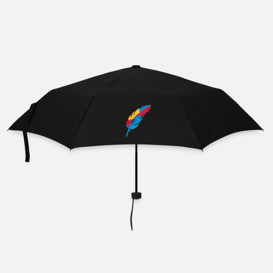 Bird Umbrellas - A colorful feather - Umbrella black