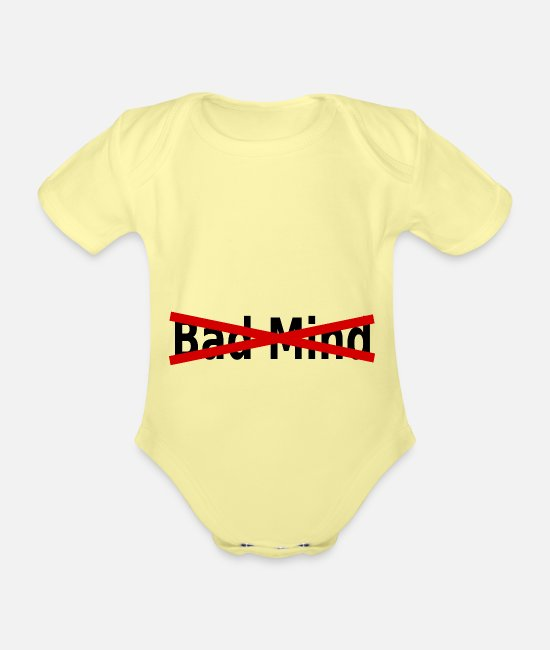 Dancehall Baby Bodysuits - BadMind - Organic Short-Sleeved Baby Bodysuit washed yellow