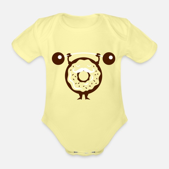 Body Building Baby Clothes - Donut - Cupcake - muffin - Muscleman - 2C - Organic Short-Sleeved Baby Bodysuit washed yellow