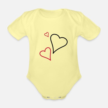 Tlc Couple of Hearts - Organic Short-Sleeved Baby Bodysuit