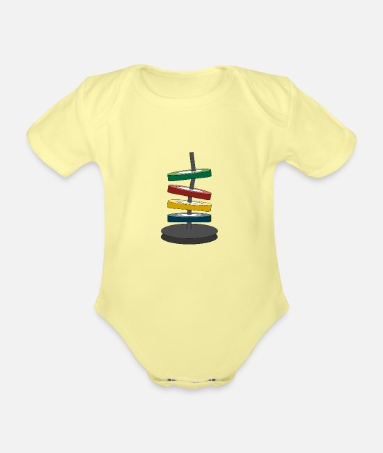Graphic Art Baby Bodysuits - Coloured disks - Organic Short-Sleeved Baby Bodysuit washed yellow