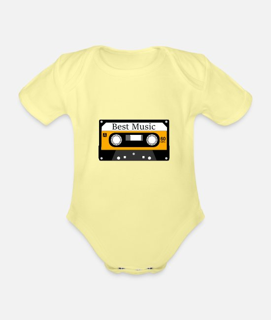 MP3 Baby Bodysuits - best music - Organic Short-Sleeved Baby Bodysuit washed yellow