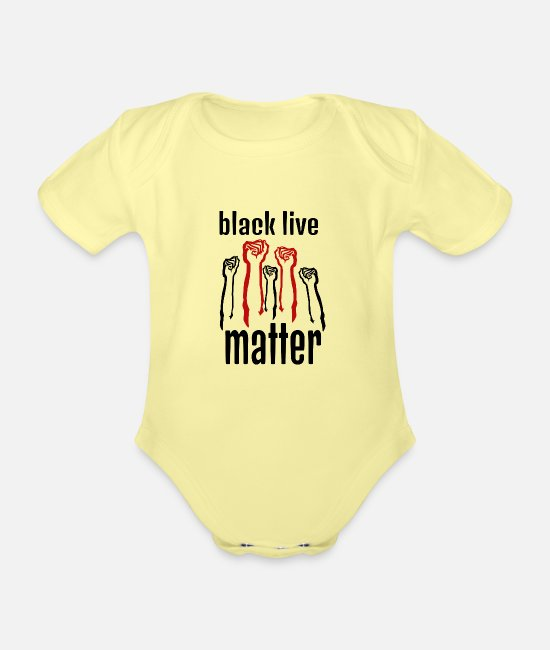 Affair Baby Bodysuits - BLACK LIVE MATTER. - Organic Short-Sleeved Baby Bodysuit washed yellow