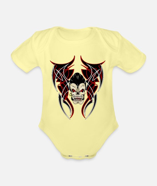 Biker Baby Bodysuits - greaser pinstrip - Organic Short-Sleeved Baby Bodysuit washed yellow