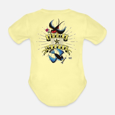 Thrill Thrill Seeker vintage tattoo style with birds v2 - Organic Short-Sleeved Baby Bodysuit