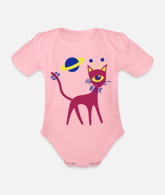 Space Baby Bodysuits - Space Cat - Organic Short-Sleeved Baby Bodysuit light pink