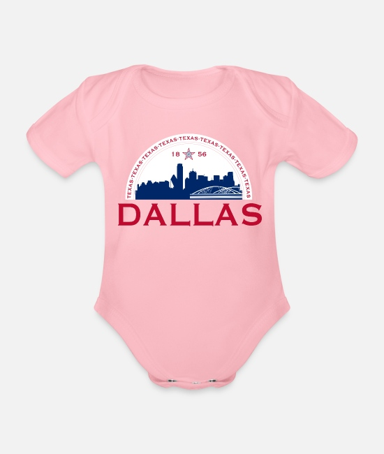 Usa Baby Bodysuits - Dallas Texas 1856 Red Blue - Organic Short-Sleeved Baby Bodysuit light pink