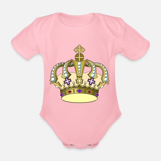 Coronation Baby Clothes - Crown - Organic Short-Sleeved Baby Bodysuit light pink