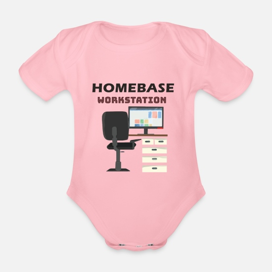 Computer Baby Clothes - Workplace office - Organic Short-Sleeved Baby Bodysuit light pink