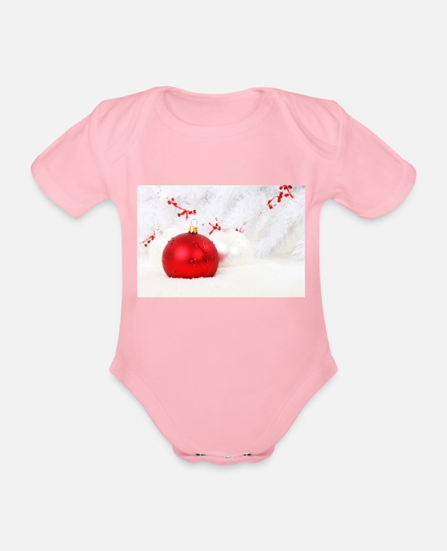 Opa Baby bodies - Christmas Christmas Advent-sparrenbal - Rompertje met korte mouwen light roze