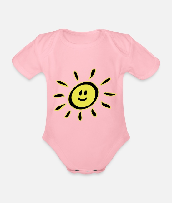 Not In The Mood Baby Bodysuits - Smiley sun - Organic Short-Sleeved Baby Bodysuit light pink