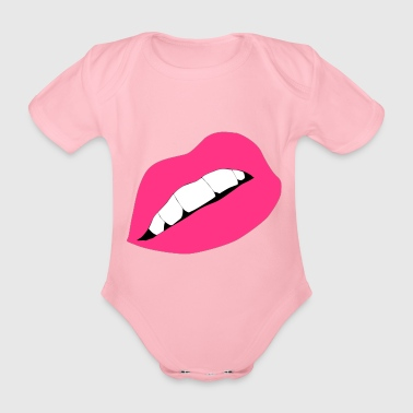 Lips Lips Mouth Kiss Kiss - Organic Short-sleeved Baby Bodysuit