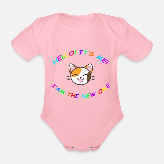 Gift Idea Baby Clothes - Baby Kitten - A great gift for newborns - Organic Short-Sleeved Baby Bodysuit light pink