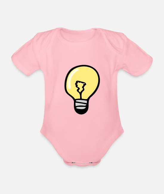 Pear Baby Bodysuits - Light bulb - Organic Short-Sleeved Baby Bodysuit light pink